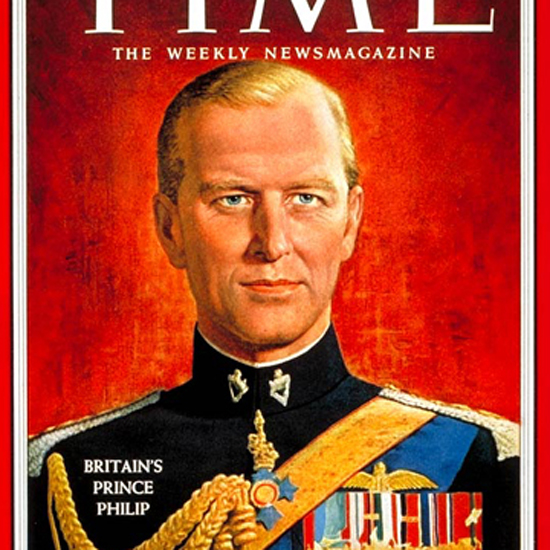 Prince Philip Time Magazine 1957-10 crop | Best of Vintage Cover Art 1900-1970