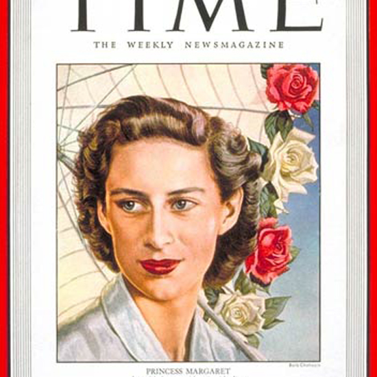 Princess Margaret Time Magazine 1949-06 by Boris Chaliapin crop | Best of Vintage Cover Art 1900-1970