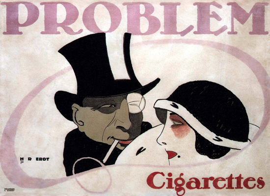 Problem Cigarettes Germany 1912 by Hans Rudi Erdt | Sex Appeal Vintage Ads and Covers 1891-1970