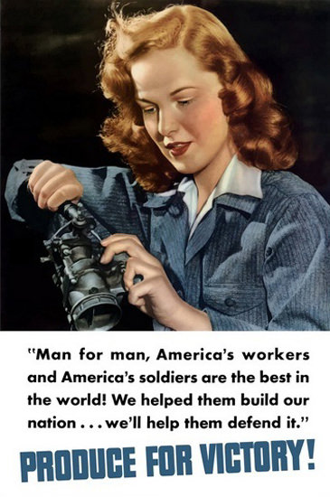 Produce For Victory Man For Man US Workers | Vintage War Propaganda Posters 1891-1970