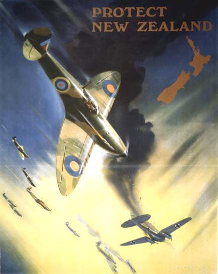 Protect New Zealand Back Them Up Air Fighter | Vintage War Propaganda Posters 1891-1970