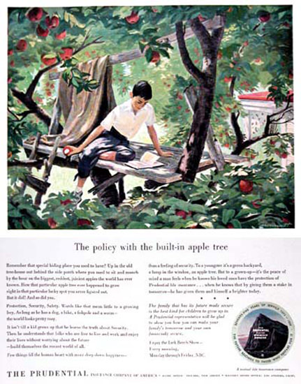 Prudential Insurance 1950 House Apple Tree | Vintage Ad and Cover Art 1891-1970