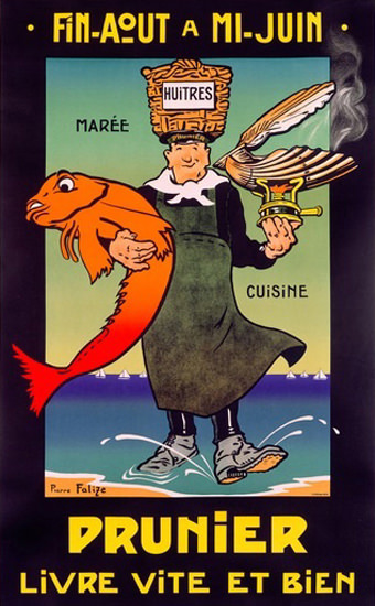 Prunier Maree Cuisine France Seafood Falize | Vintage Ad and Cover Art 1891-1970