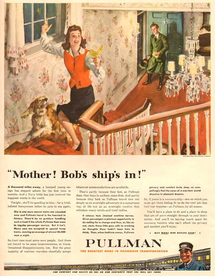 Pullman Mother Bobs Ships In 1943 | Vintage Ad and Cover Art 1891-1970