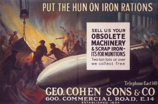 Put The Hun On Iron Rations United Kingdom | Vintage War Propaganda Posters 1891-1970