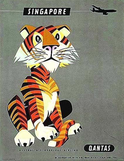 Qantas Airlines Singapore Tiger 1965 | Vintage Travel Posters 1891-1970