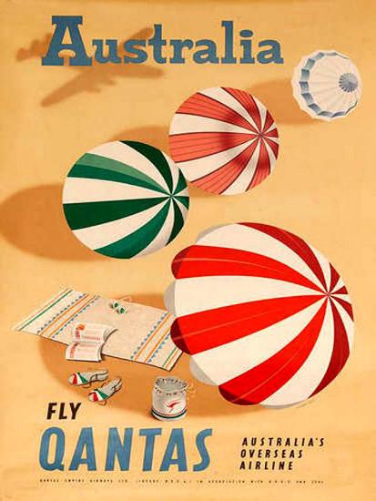 Qantas Australia Australias Overseas Airline 1950 | Vintage Travel Posters 1891-1970
