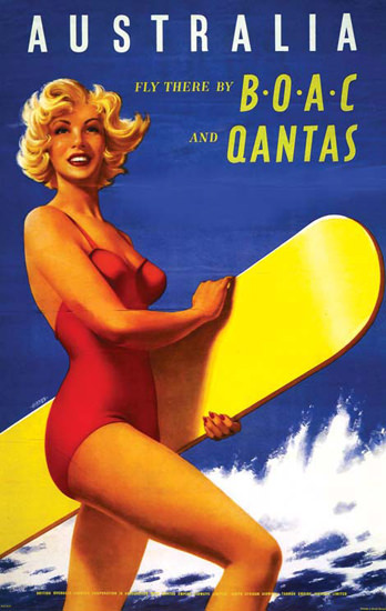 Qantas Australia Fly There 1950s | Sex Appeal Vintage Ads and Covers 1891-1970