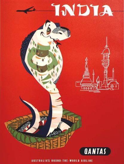Qantas India 1950s | Vintage Travel Posters 1891-1970
