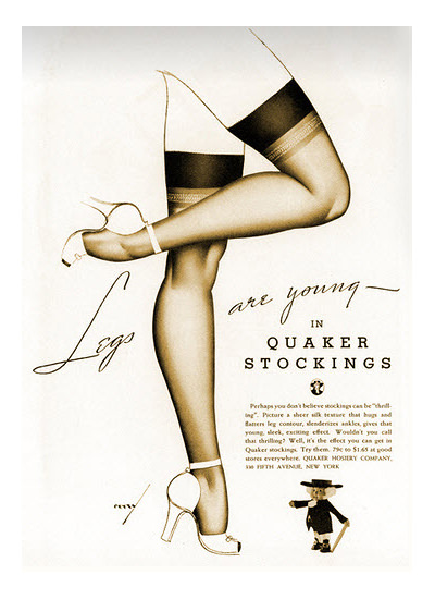 Quaker Stockings George Petty 1938 | Sex Appeal Vintage Ads and Covers 1891-1970