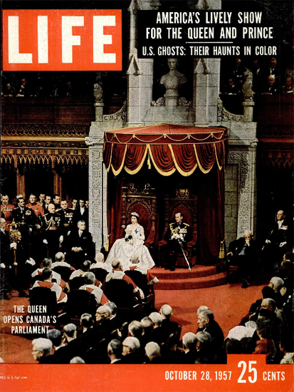 Queen Elizabeth Canada Parliament 28 Oct 1957 Copyright Life Magazine | Life Magazine Color Photo Covers 1937-1970