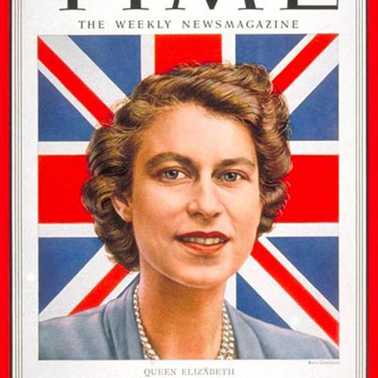 Queen Elizabeth II Time Magazine 1952-02 by Boris Chaliapin crop | Best of Vintage Cover Art 1900-1970