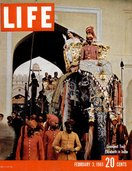 Queen Elizabeth II tours in India 3 Feb 1961 Copyright Life Magazine | Life Magazine Color Photo Covers 1937-1970