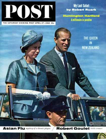 Queen Elizabeth and Prince Phillip Saturday Evening Post 1963_04_27 | Vintage Ad and Cover Art 1891-1970