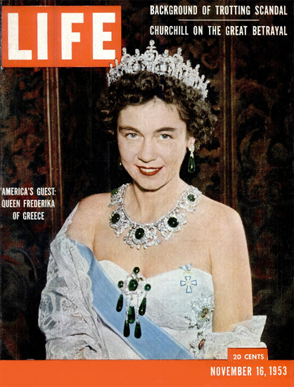 Queen Frederika of Greece 16 Nov 1953 Copyright Life Magazine | Life Magazine Color Photo Covers 1937-1970