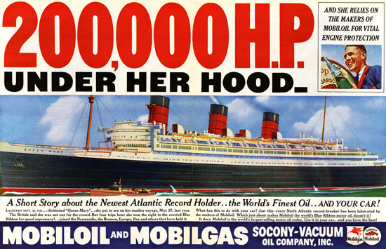 Queen Mary Mobilgas Atlantic Record 1936 | Vintage Ad and Cover Art 1891-1970