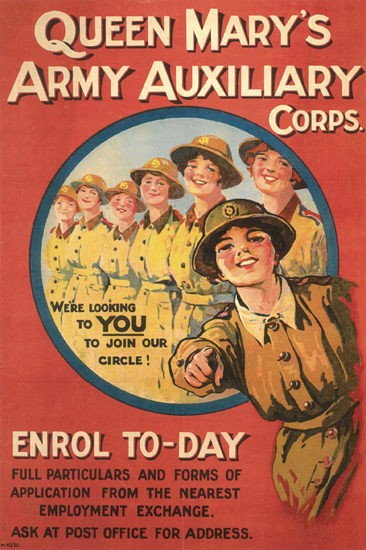 Queen Marys Army Auxiliary Corps UK | Vintage War Propaganda Posters 1891-1970