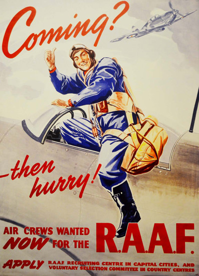 RAAF Coming Then Hurry Air Crews Wanted Now | Vintage War Propaganda Posters 1891-1970