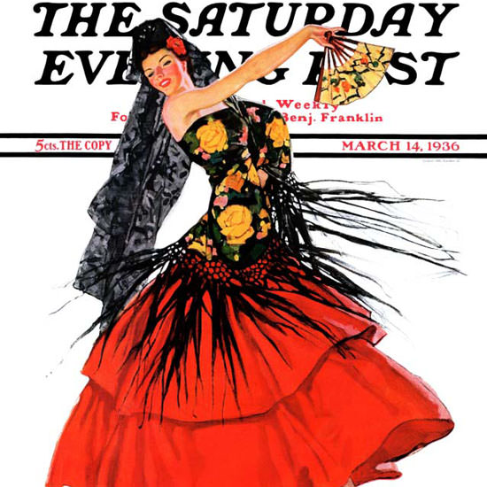 RJ Cavaliere Saturday Evening Post Flamenco 1936_03_14 Copyright crop | Best of 1930s Ad and Cover Art