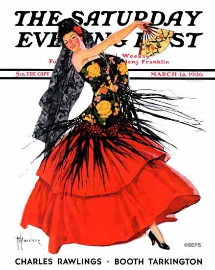RJ Cavaliere Saturday Evening Post Flamenco Dancer in Red 1936_03_14 | The Saturday Evening Post Graphic Art Covers 1931-1969