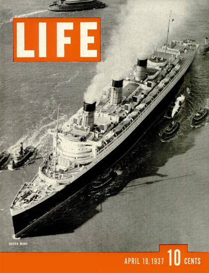 RMS Queen Mary 19 Apr 1937 Copyright Life Magazine   Life Magazine BW Photo Covers 1936-1970