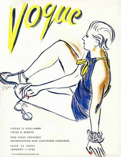 RS Grafstrom Vogue Cover 1935-01-01 Copyright Sex Appeal | Sex Appeal Vintage Ads and Covers 1891-1970