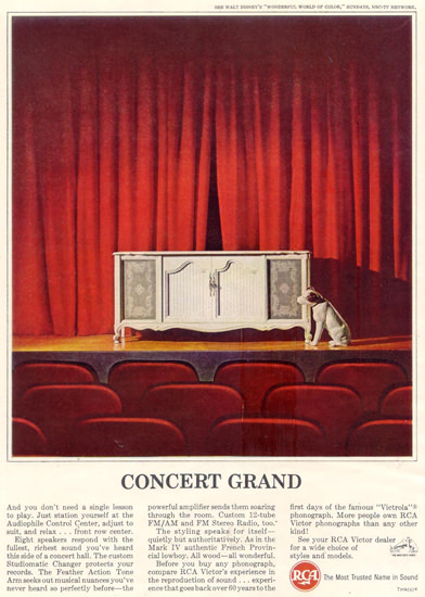 Radio Co Of America RCA Concert Grd Dog 1963 | Vintage Ad and Cover Art 1891-1970