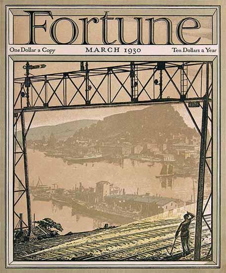 Railway Gantry Fortune Magazine March 1930 Copyright   Fortune Magazine Graphic Art Covers 1930-1959