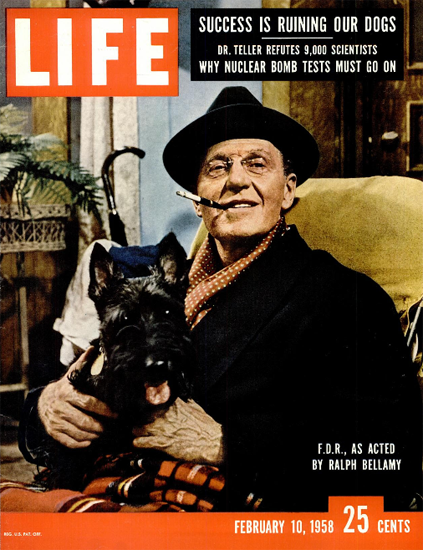 Ralph Bellamy as Franklin Roosevelt 10 Feb 1958 Copyright Life Magazine | Life Magazine Color Photo Covers 1937-1970
