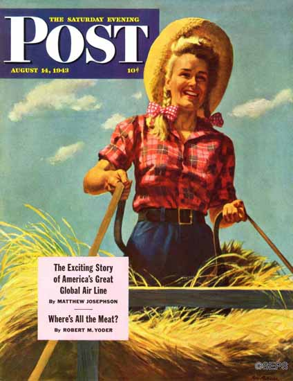 Ray Prohaska Saturday Evening Post Driving Hay Wagon 1943_08_14 | The Saturday Evening Post Graphic Art Covers 1931-1969