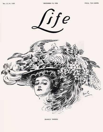 Raymond M Crosby Life Delirium Trimmins 1908-12-10 Copyright | Life Magazine Graphic Art Covers 1891-1936