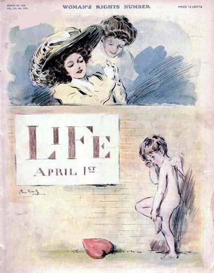 Raymond M Crosby Life Humor Magazine 1909-03-25 Copyright   Life Magazine Graphic Art Covers 1891-1936