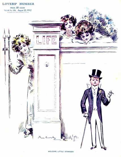 Raymond M Crosby Life Humor Magazine 1912-08-22 Copyright | Life Magazine Graphic Art Covers 1891-1936