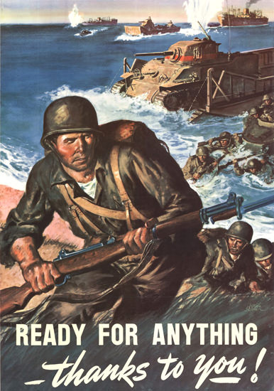 Ready For Anything Thanks To You D-Day | Vintage War Propaganda Posters 1891-1970