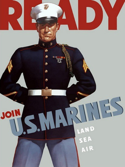 Ready Join US Marines Land Sea Air Marine | Vintage War Propaganda Posters 1891-1970