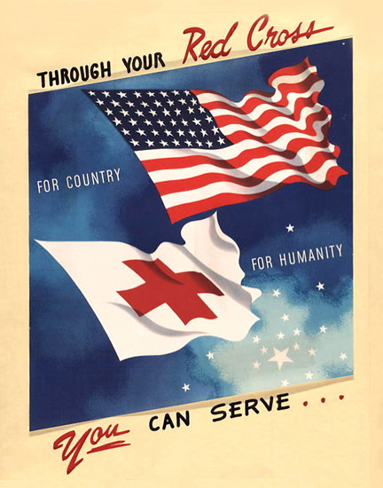 Red Cross For Country Humanity You Can Serve | Vintage War Propaganda Posters 1891-1970