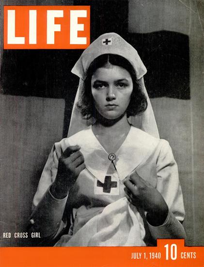 Red Cross Girl 1 Jul 1940 Copyright Life Magazine   Life Magazine BW Photo Covers 1936-1970