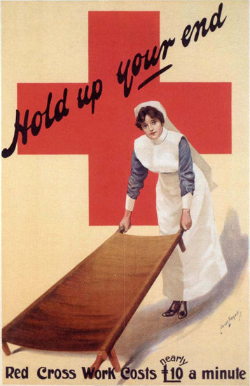 Red Cross Hold Up Your End United Kingdom | Vintage War Propaganda Posters 1891-1970