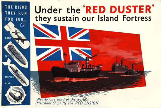 Red Duster Island Fortress Red Ensign | Vintage War Propaganda Posters 1891-1970