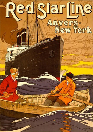 Red Star Line Steam Ship Anvers New York | Vintage Travel Posters 1891-1970