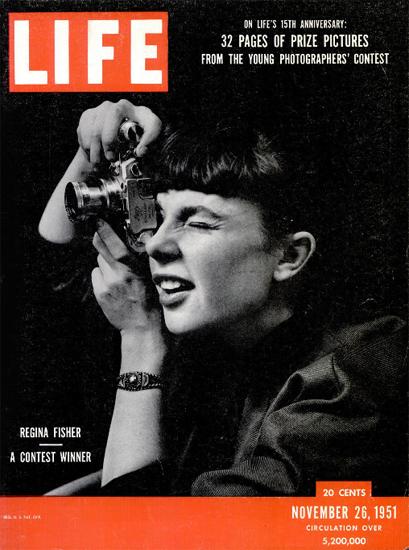 Regina Fisher Photographer 26 Nov 1951 Copyright Life Magazine | Life Magazine BW Photo Covers 1936-1970