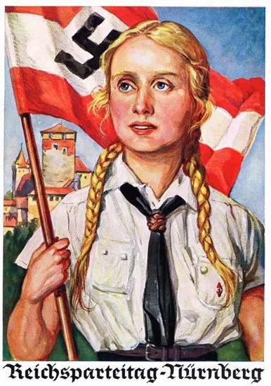 Reichsparteitag Nuernberg Hitler Youth   Vintage War Propaganda Posters 1891-1970