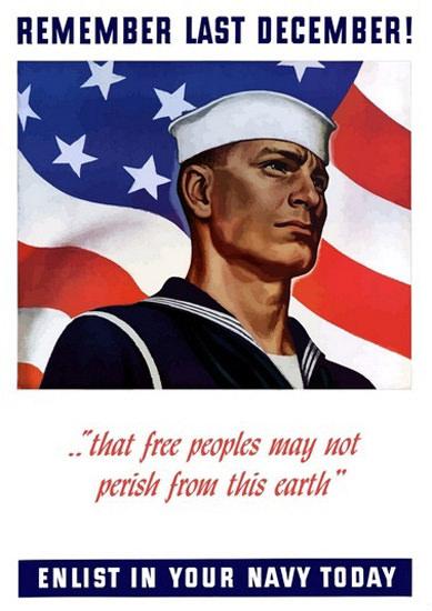 Remember Pearl Harbor 1941 US Flag And Navy | Vintage War Propaganda Posters 1891-1970