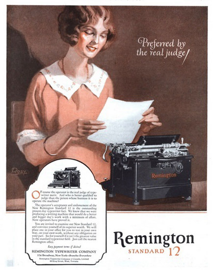 Remington Standard 12 Typewriter 1925 | Sex Appeal Vintage Ads and Covers 1891-1970