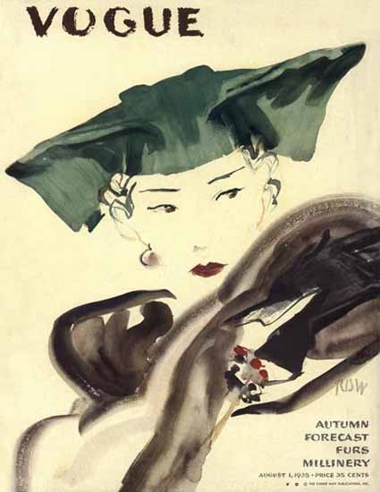 Rene Bouet-Willaumez Vogue Cover 1935-08-01 Copyright | Vogue Magazine Graphic Art Covers 1902-1958