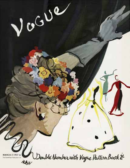 Rene Bouet-Willaumez Vogue Cover 1937-03-17 Copyright | Vogue Magazine Graphic Art Covers 1902-1958