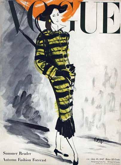 Rene Bouet-Willaumez Vogue Cover 1947-07-15 Copyright   Vogue Magazine Graphic Art Covers 1902-1958