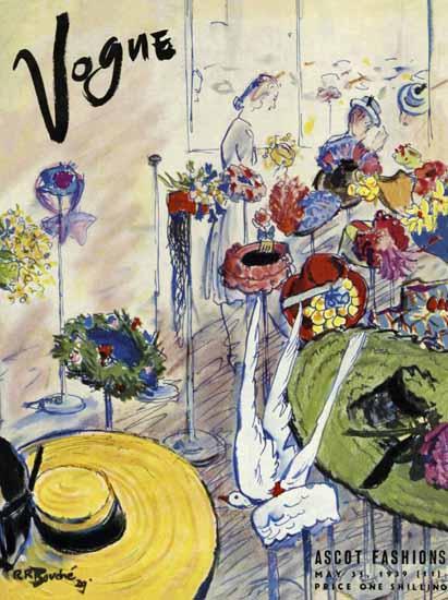Rene R Bouche Vogue Cover 1939-05 Copyright   Vogue Magazine Graphic Art Covers 1902-1958