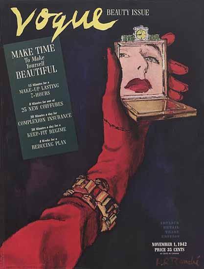 Rene R Bouche Vogue Cover 1942-11-01 Copyright | Vogue Magazine Graphic Art Covers 1902-1958