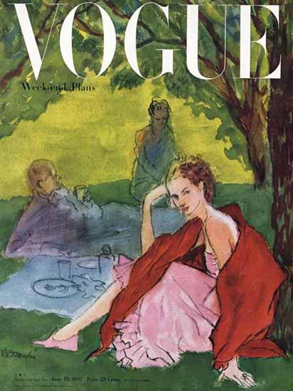Rene R Bouche Vogue Cover 1947-06-15 Copyright | Vogue Magazine Graphic Art Covers 1902-1958